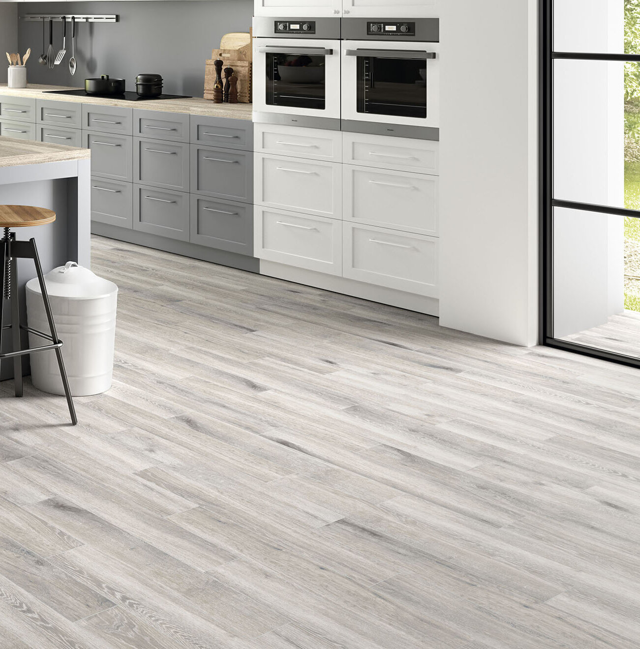 Antoni Platinum 6 X 36 Porcelain Wood Look Tile In Gray