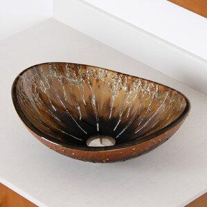wayfair bathroom sinks. Hand Painted Boat Glass Oval Vessel Bathroom Sink Sinks You ll Love  Wayfair