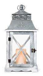 Gracie Oaks Washed Wooden Metal/Wood Lantern