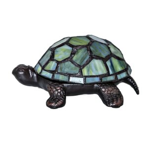 Fleur De Lis Living Crawford Stained Glass LED Wireless Turtle Accent 2.50