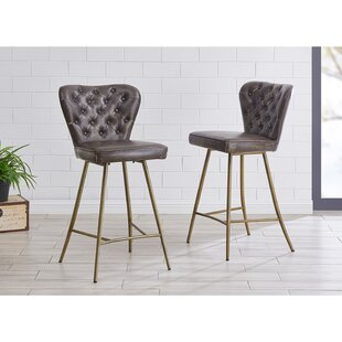 Burress PU Leather 26 Swivel Bar Stool (Set of 2) Brayden Studio