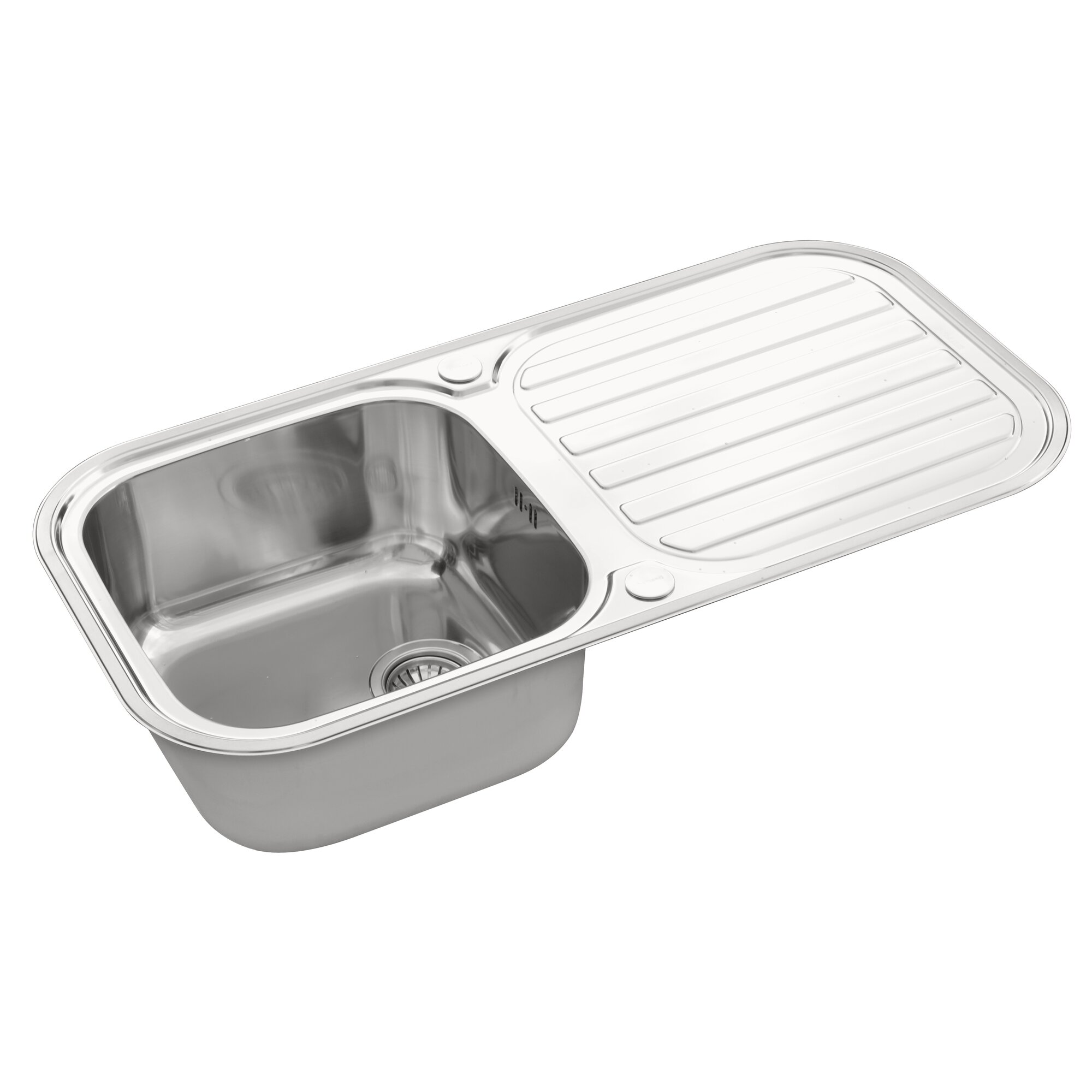 116 cm stainless steel double bowl single drainer inset sink right - Galaxy 96cm X 48cm Kitchen Sink