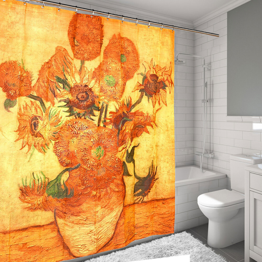 Sweet Home Collection Sunflowers By Van Gogh Printed Water Resistant Shower Curtain Reviews