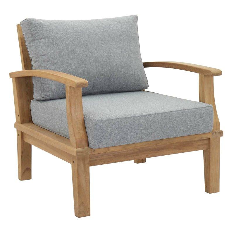 Elaina Teak Patio Chair With Cushion Reviews Joss Main