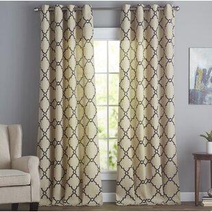 Winnett Geometric Grommet Single Curtain Panel by Three Posts