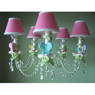 Silly Bear Lighting Bright Climbing Vine Butterfly 5-Light Shaded Chandelier