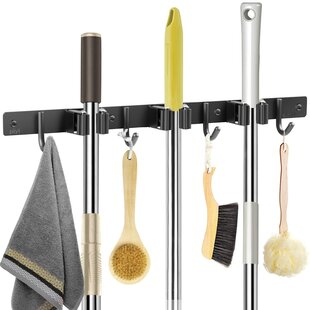 Details about  /Mop Broom Holder Heavy Duty Hooks Hanger Wall Mounted Stainless Steel Organizer