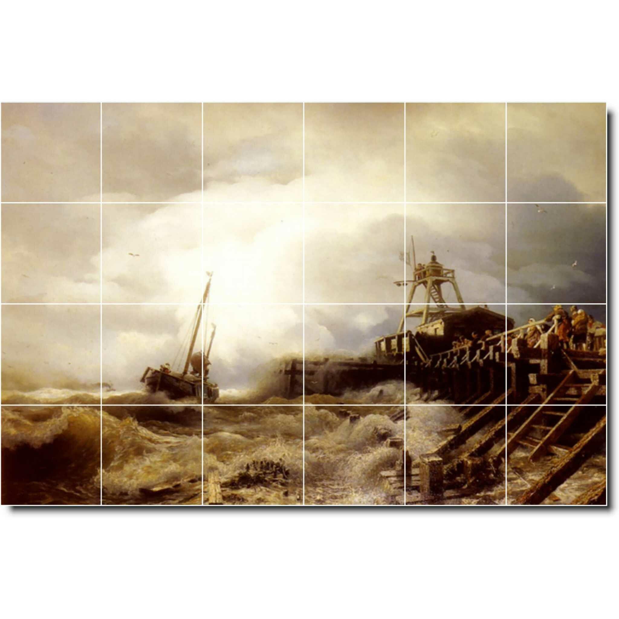 Picture Tiles Com 24 X 18 Ceramic Ivan Aivazovsky Waterfront Painting Decorative Mural Tile 29 6 X 6 Set Of 12 Wayfair