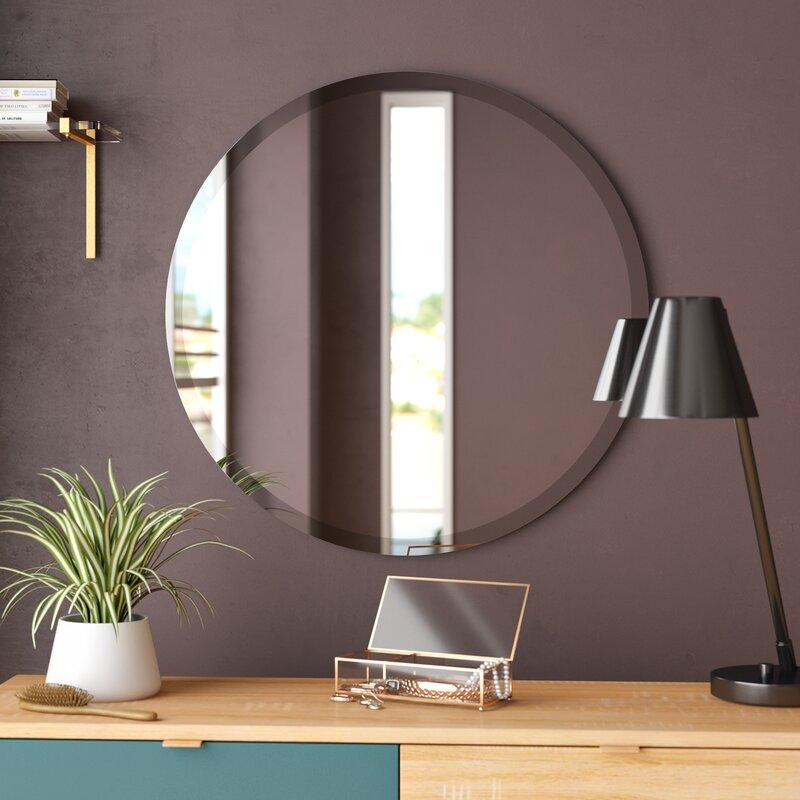 Langley Street Greyson Frameless Round Wall Mirror Wayfair