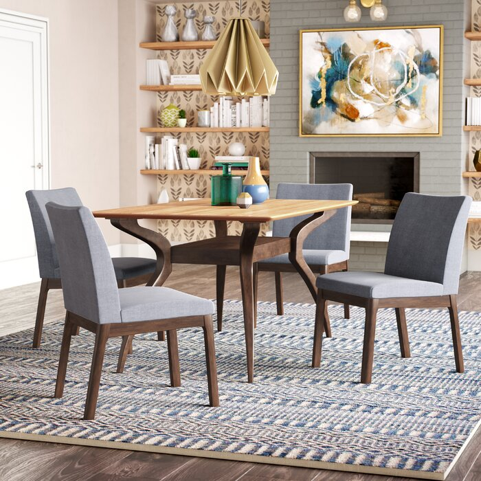 Tunis 5 Piece Dining Set with Curved Table Legs