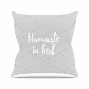 Namaste In Bed Outdoor Throw Pillow