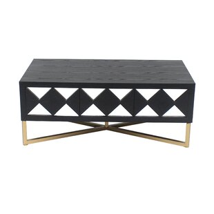 Everly Quinn Granby 3 Drawer Wood Coffee Table