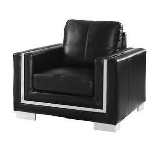Orren Ellis Stefan Stainless Steel Leather Armchair