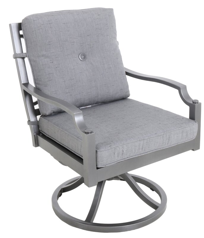 Konevsky Aluminum Outdoor Swivel Patio Dining Chair With Cushion