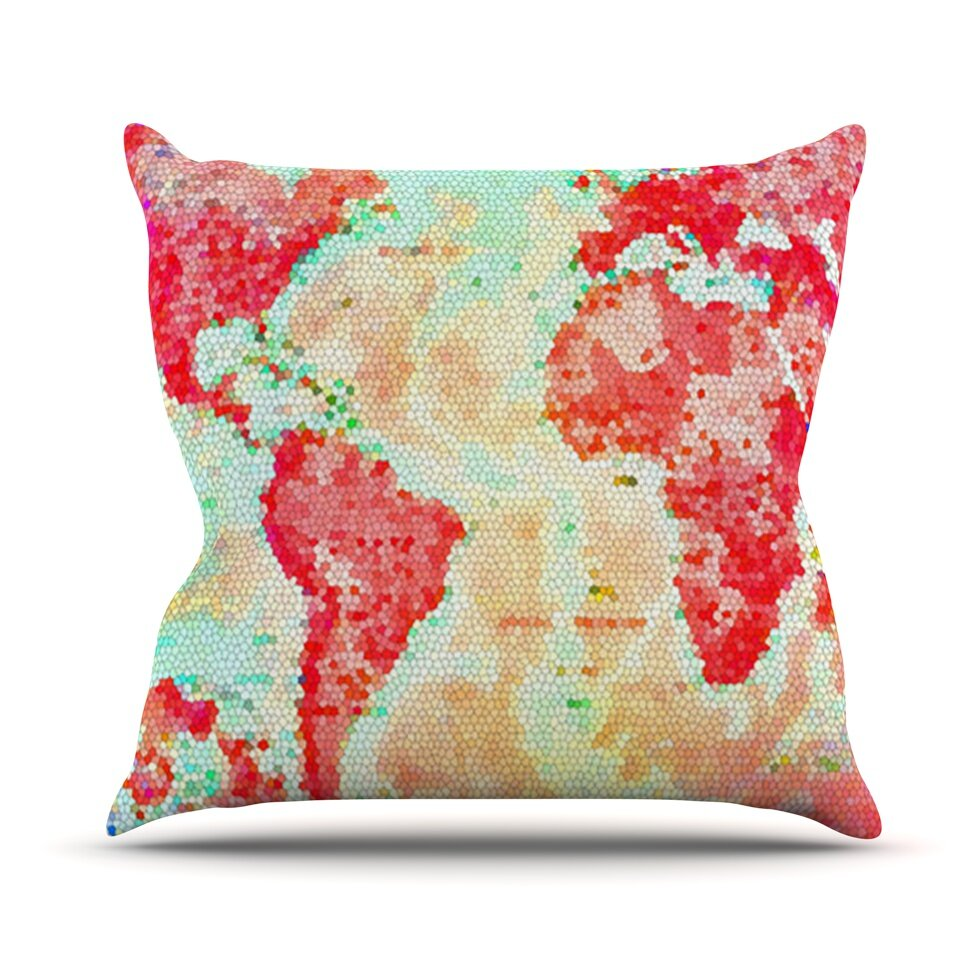 23 x 23 Square Floor Pillow Kess InHouse Catherine Holcombe Flower Power Pink Map