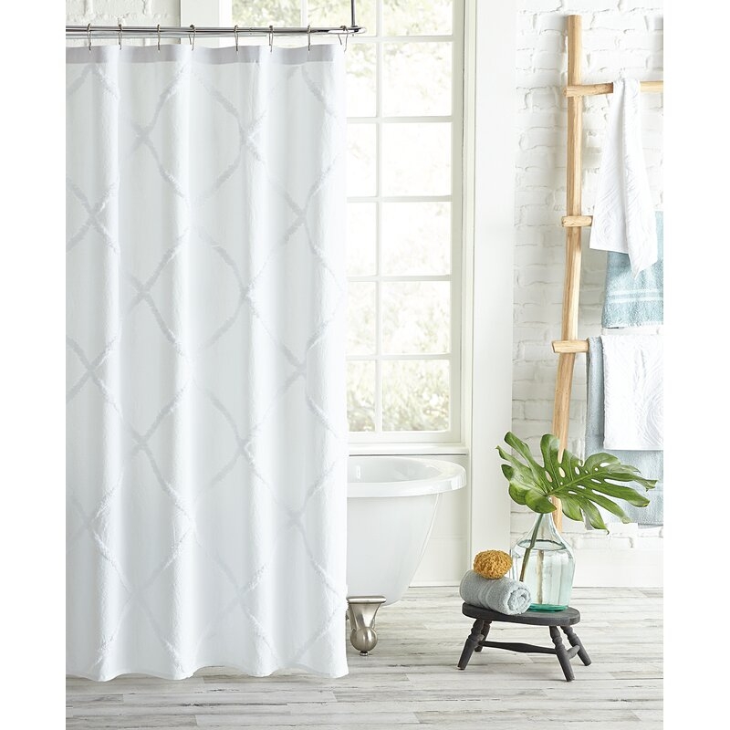 Alcott Hill Agustin Lattice Cotton Single Shower Curtain Color: White