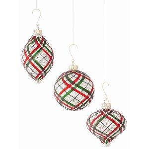 3 Piece Plaid Shaped Ornament Set (Set of 2)