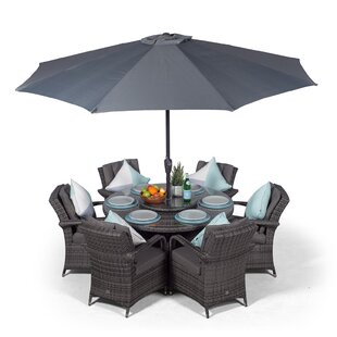 Karas 6 Seater Dining Set With Cushions And Parasol By Sol 72 Outdoor