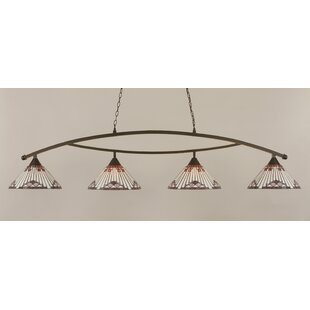 Essonnes 4-Light Glass Shade Kitchen Island Pendant by Loon Peak