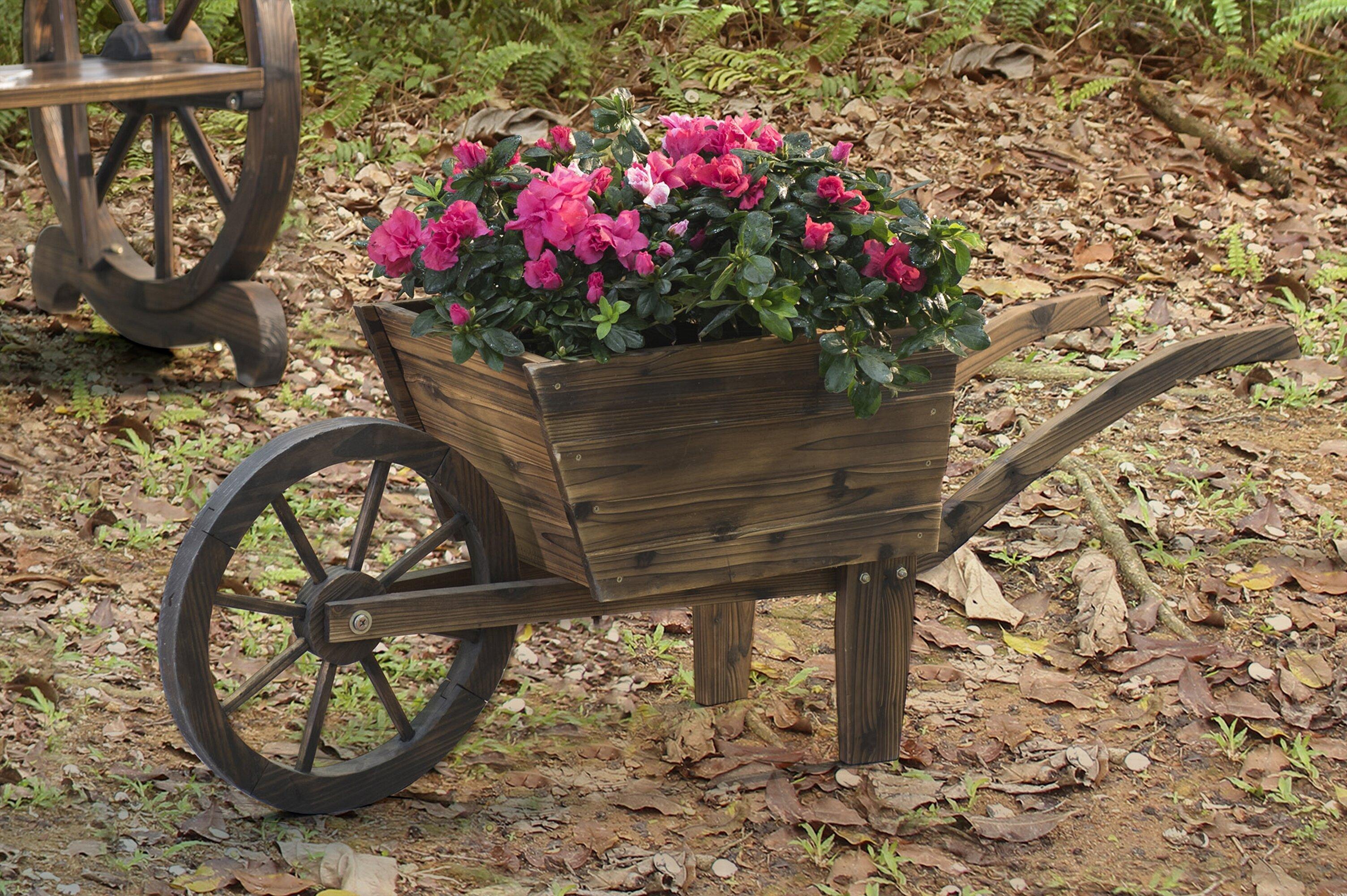 Sunjoy Wood Wheelbarrow Planter | Wayfair