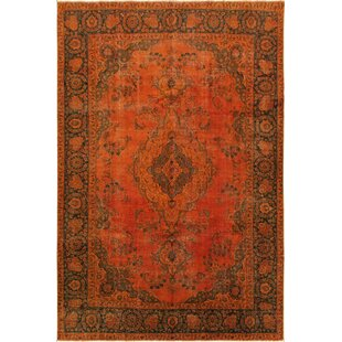 Read Reviews One-of-a-Kind Evans Vintage Distressed Hand-Knotted 7'3 x 10'3 Wool Orange/Black Area Rug By Isabelline