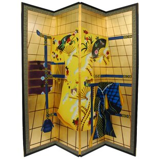 Bloomsbury Market Royer Feet Tall Kimono 4 Panel Room Divider in Gold