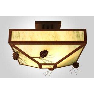 Steel Partners Ponderosa Pine 4-Light Post Drop Semi Flush Mount Ceiling Light