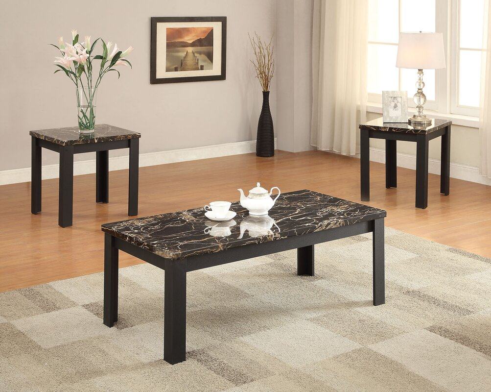 Living Room 3 Piece Table Sets acme furniture carly faux marble 3 piece coffee table set