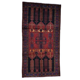 Affordable One-of-a-Kind Howell Semi Wide Hand-Knotted 5'2 x 9'9 Wool Red/Black Area Rug By Isabelline