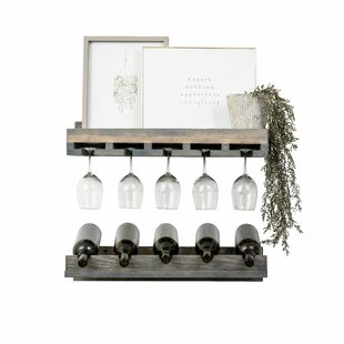 Oconner Wall Mounted Wine Bottle and Glass (Set of 2)