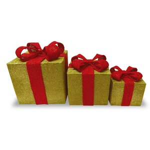 3 Piece Christmas Gift Box Decoration Set
