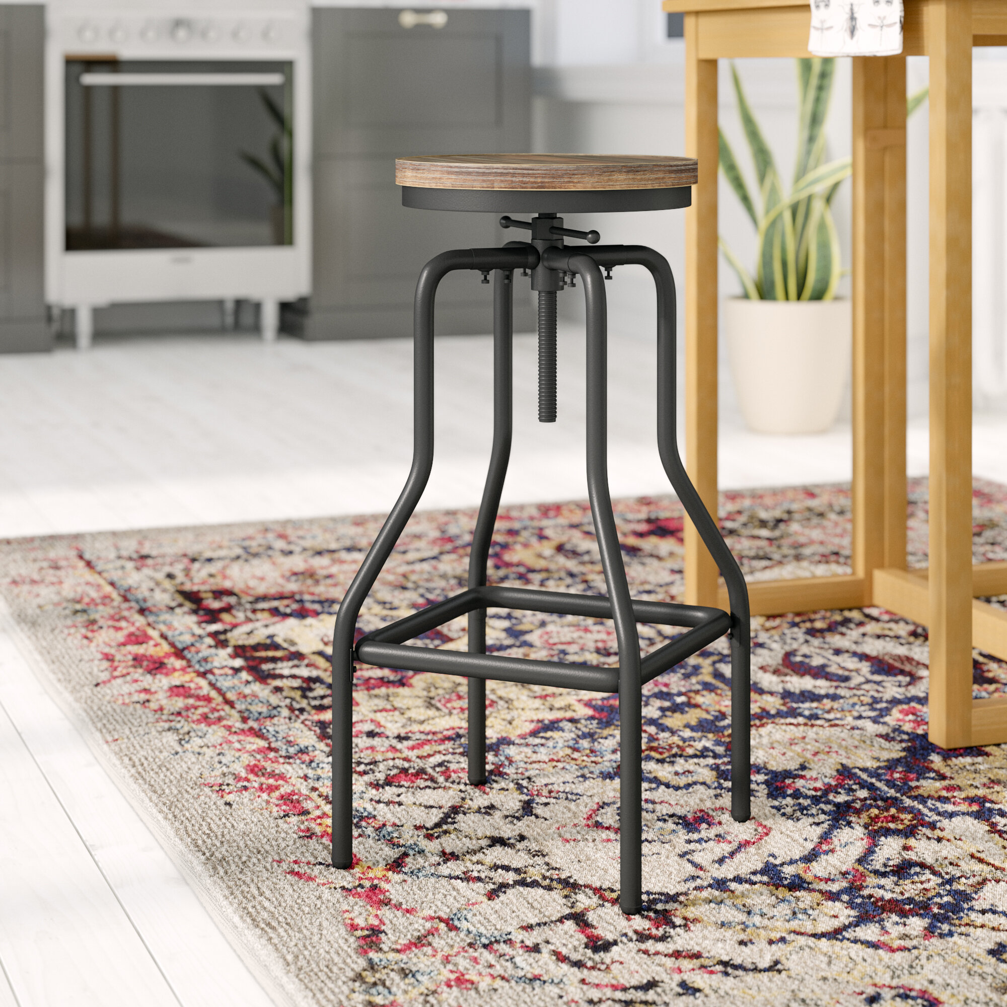 afd5235cf879 Homcom Vintage Industrial Height Adjustable Swivel Bar Stool   Reviews