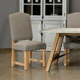 Ruge Linen Upholstered Side Chair in Gray (Set of 2) by Sarreid Ltd