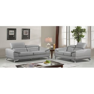 Orren Ellis Richert 2 piece Leather Living Room Set (Set of 2)