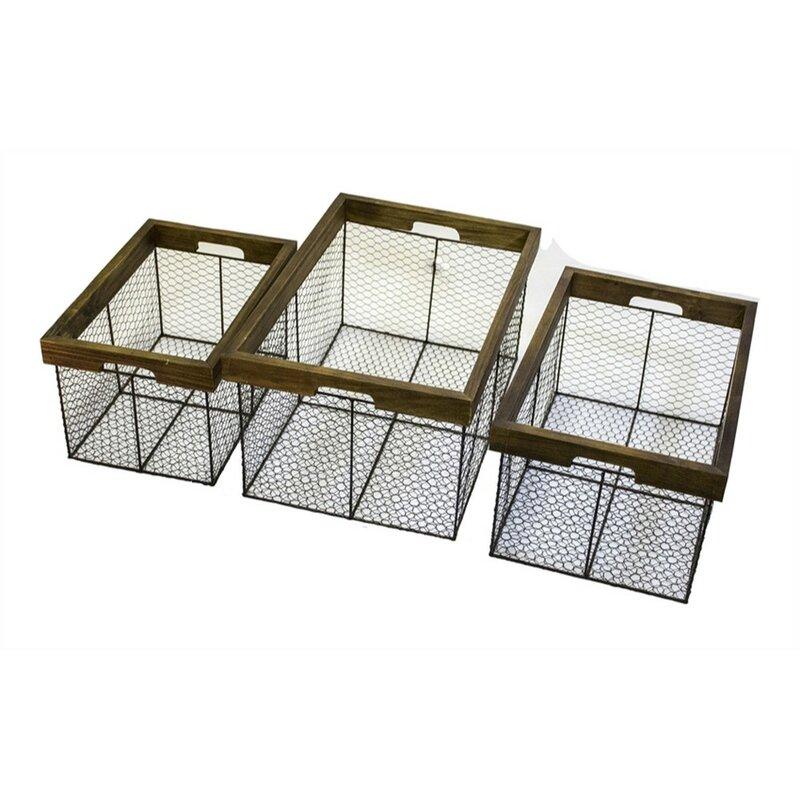 17 Stories Attractive 3 Piece Metal/Wire Basket Set