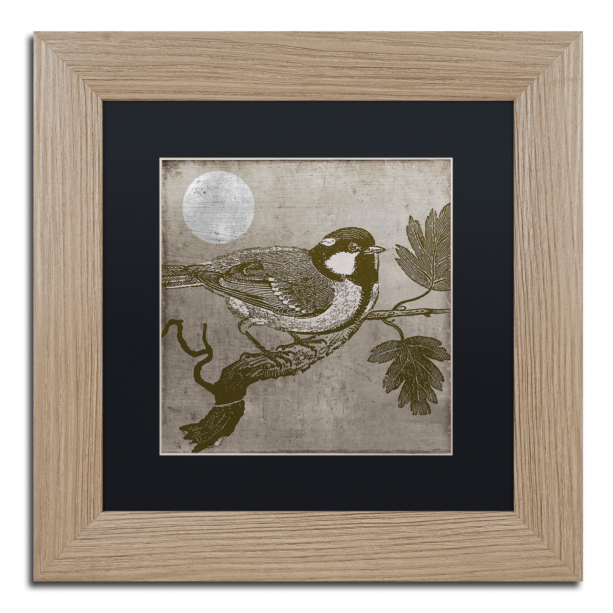 Trademark Art Moon Bird Framed Graphic Art Wayfair