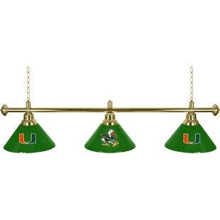 University of Miami 3-Light Pool Table Lights Pendant by Trademark Global