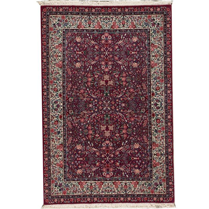 Bokara Rug Co Inc Shah Oriental Hand Knotted Wool Plum Ivory Area Rug Wayfair