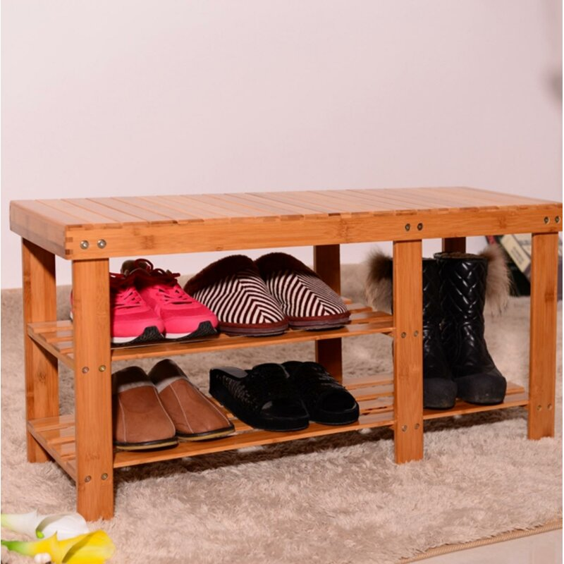 Rebrilliant Strip Pattern Tiers Bamboo 6 Pair Shoe Storage Bench Reviews Wayfair