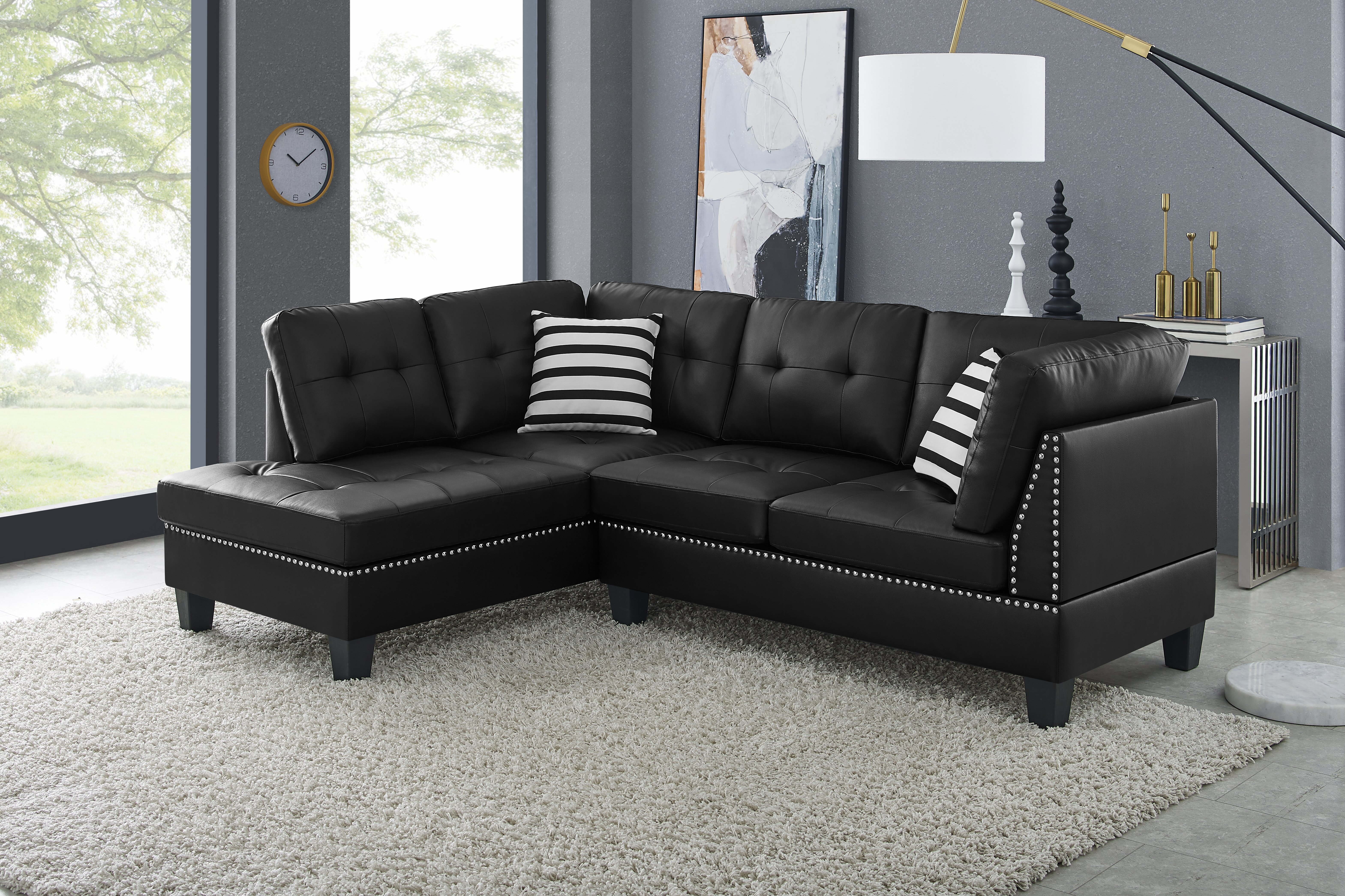 Black Faux Leather Sectionals You Ll Love In 2021 Wayfair