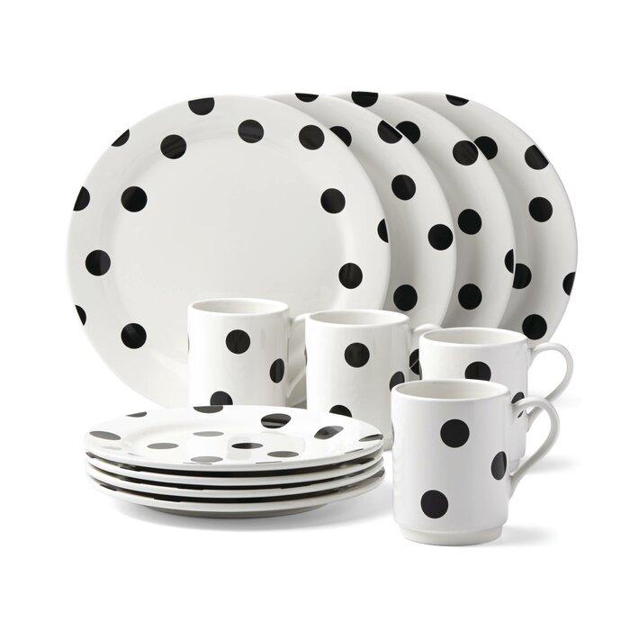 Beau All In Good Taste Deco Dot 12 Piece Dinnerware Set, Service For 4