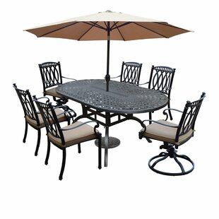 Darby Home Co Otsego 9 Piece Rust-Free Aluminum Dining Set with Cushions and Umbrella