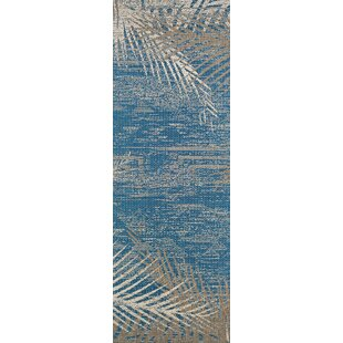 Odilia Tropical Palms Blue/Gray/Beige Area Rug