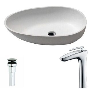 Bargain Trident Stone Oval Vessel Bathroom Sink with Faucet By ANZZI