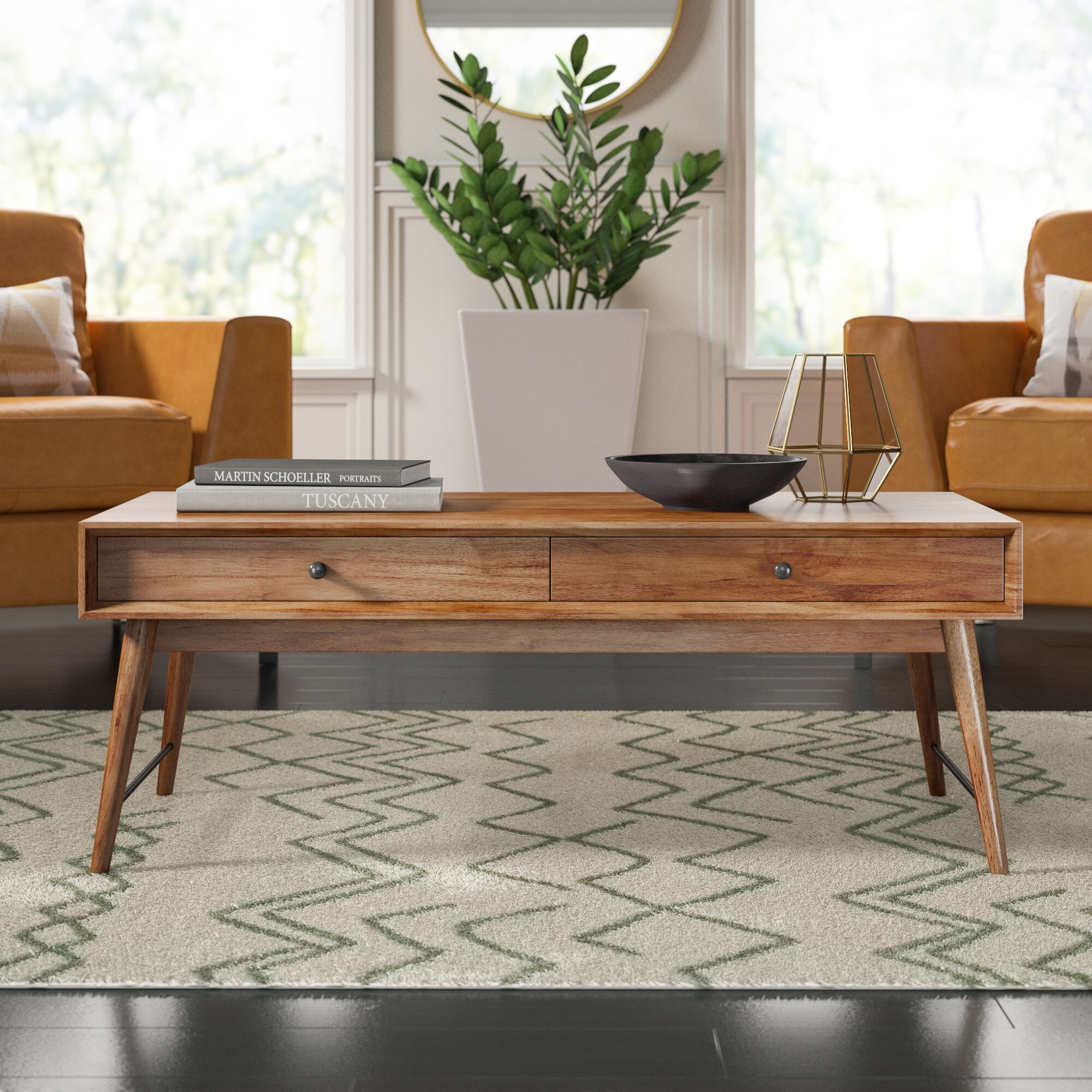 - Mercury Row Andersen Solid Wood Coffee Table With Storage