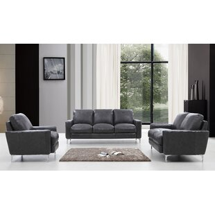 Mckinney Modern 3 Piece Leather Living Room Set