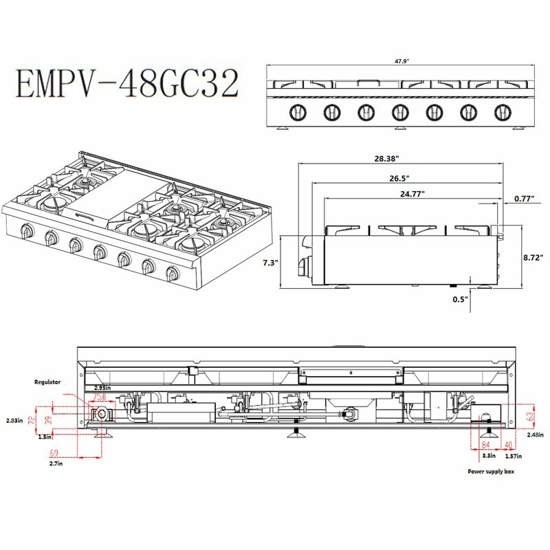 gas cooktop schematic empava 48  gas cooktop with 6 burners wayfair  empava 48  gas cooktop with 6 burners