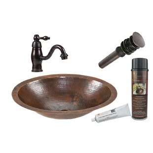 Premier Copper Products Metal Oval Undermount Bathroom Sink with Faucet