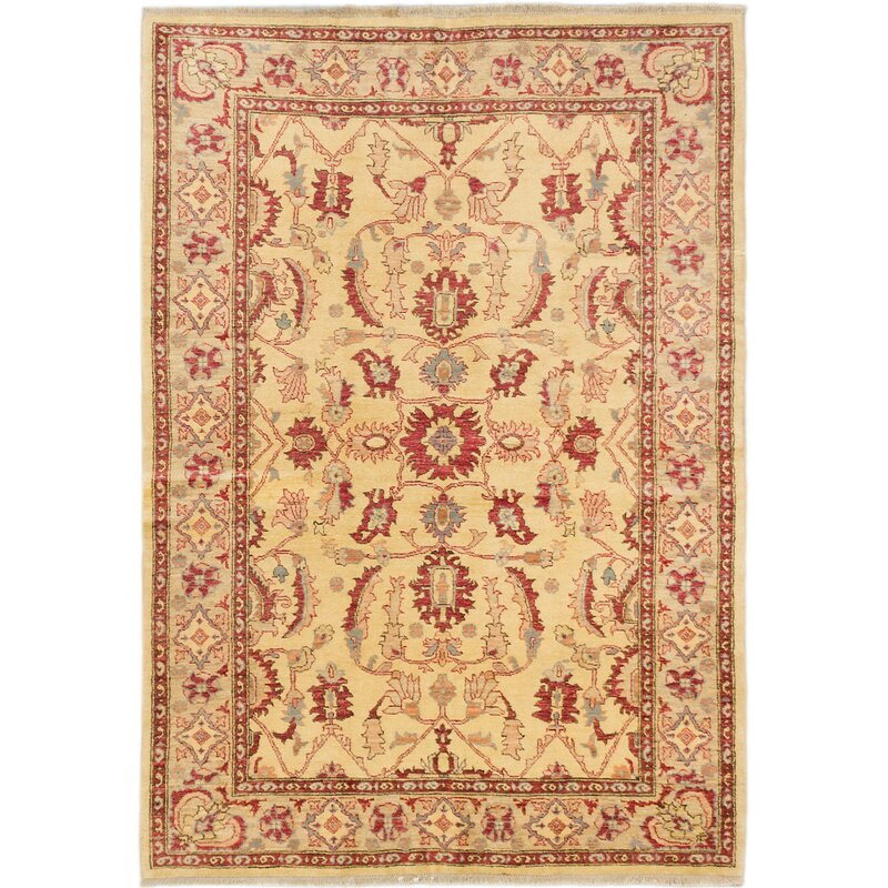 One Of A Kind Eirwen Hand Knotted Light Yellow Area Rug