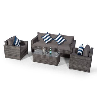 Villatoro Grey Rattan 3 Seat Sofa + 2 X Armchairs & Rectangle Coffee Table, Outdoor Patio Garden Furniture Image